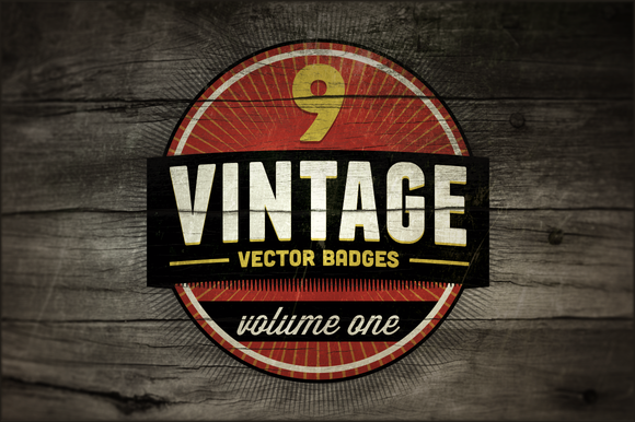 9 Vintage Vector Badges