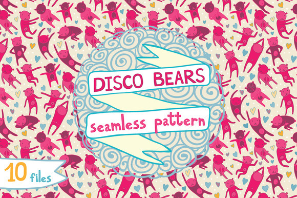 Disco Bears Seamless Pattern