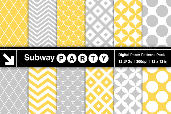 Gray Yellow Retro Geometric Patterns