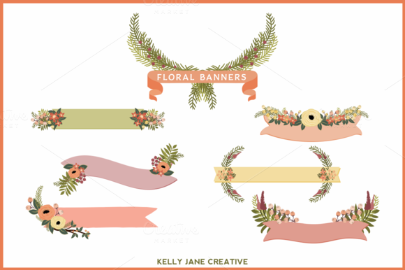 Peaches-n-Cream Floral Banners