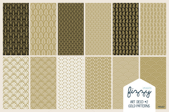 12 X EPS JPG Art Deco2 Gold Patterns