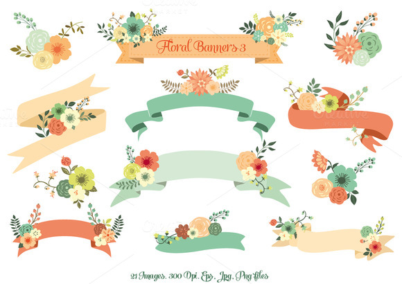Floral Banners III Vector Set
