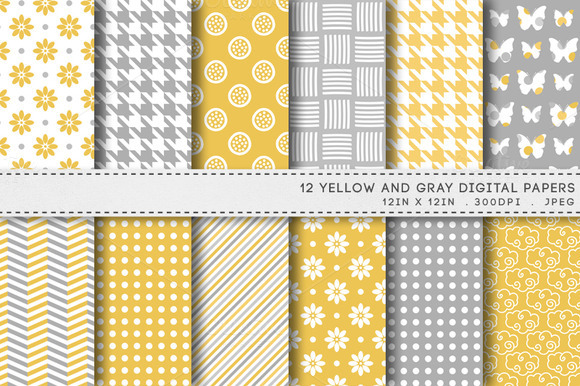12 Yellow Gray Digital Papers