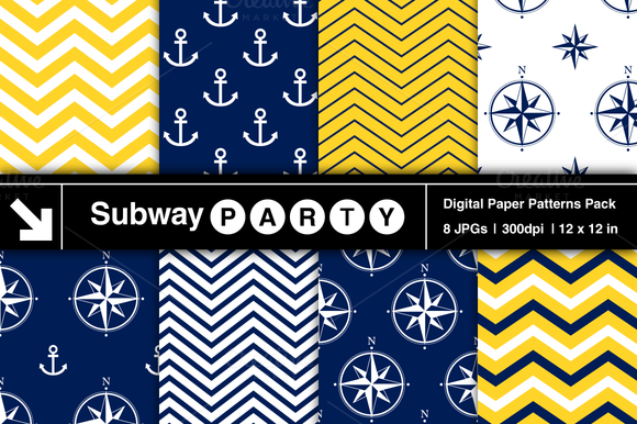 Nautical Navy Yellow Patterns V1