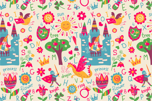Seamless Pattern Fabulous Alphabet