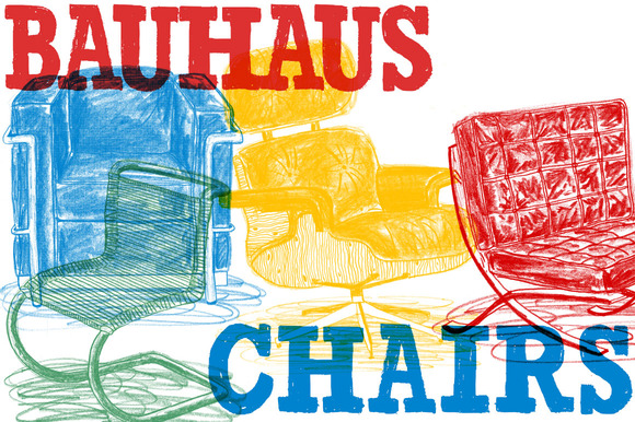 Hand Drawn Bitmap Bauhaus Chairs