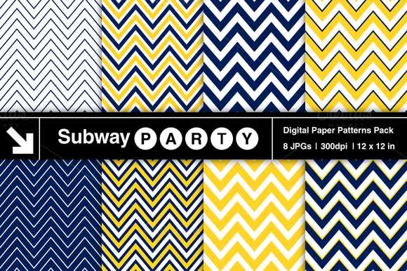 Navy Blue Yellow Chevron Patterns