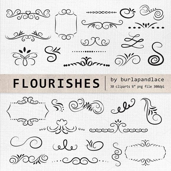 Hand Drawn Flourishes Clipart