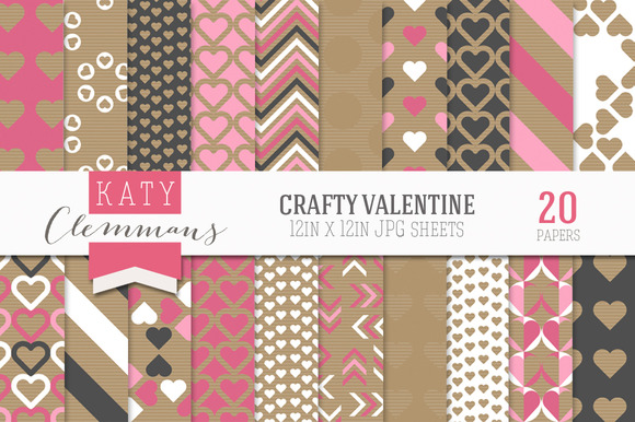 Crafty Valentine Digital Paper Pack