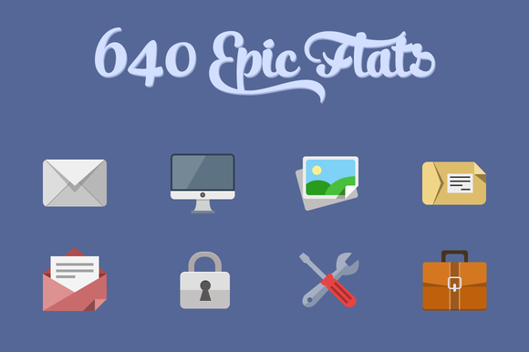 640 Flat Icons PixelDropr