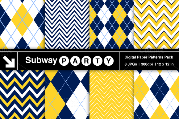 Navy Yellow Chevron Argyle