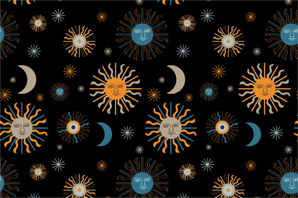 Seamless Pattern Sun And Moon