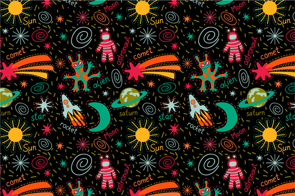 Seamless Pattern Funny Space
