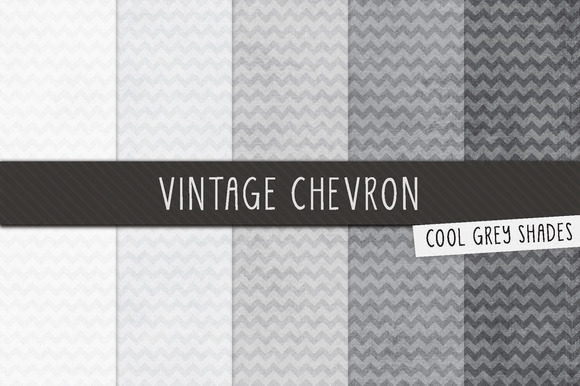 Grey Vintage Chevron Digital Papers