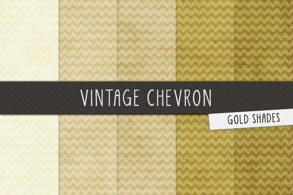 Gold Vintage Chevron Digital Papers