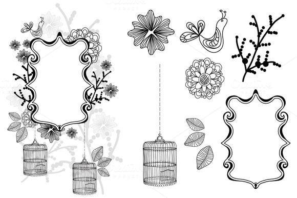 Clip Art Package Flower Cage Bird