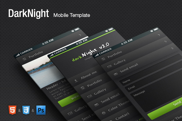 DarkNight HTML Mobile Theme