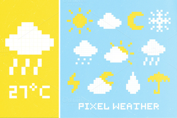 Pixel Weather Icon Set