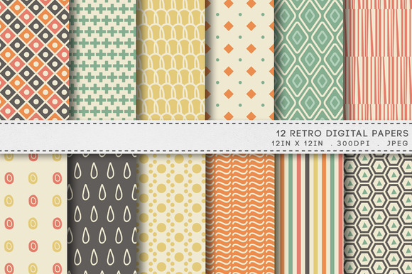 12 Retro Digital Papers