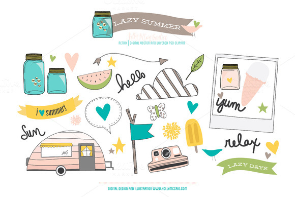 Lazy Summer Vector PSD Clipart