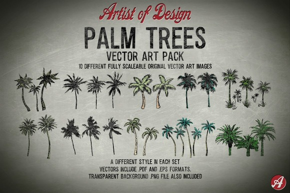 Vector Clip Art Palm Trees