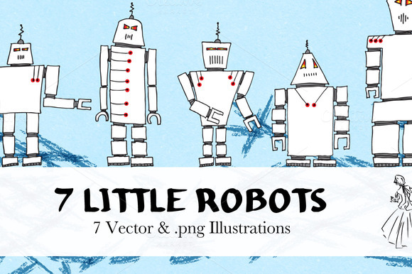 Hand Drawn Vector Robots