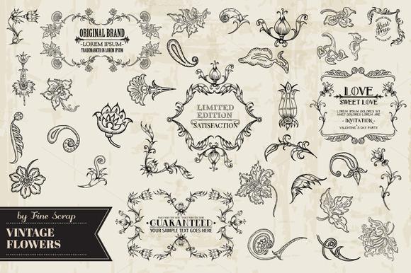 Floral Calligraphic Design Elements