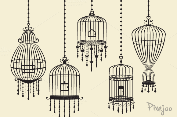 Set Of Birdcages In Vector And PNG