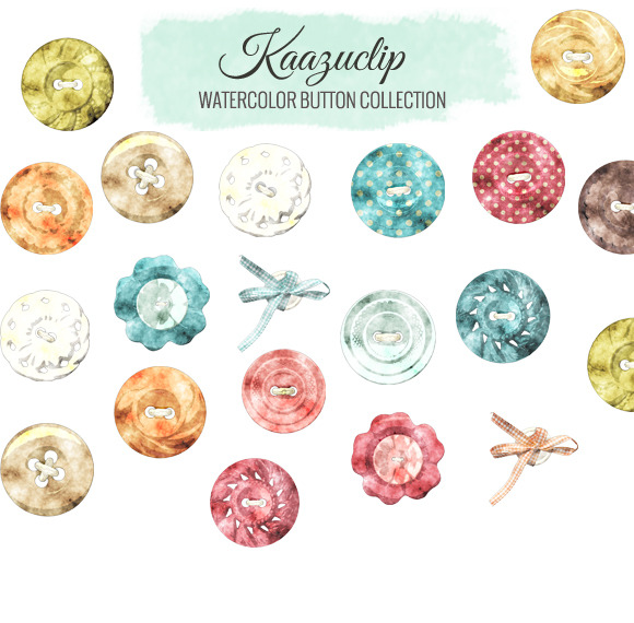 Watercolor Button Collection