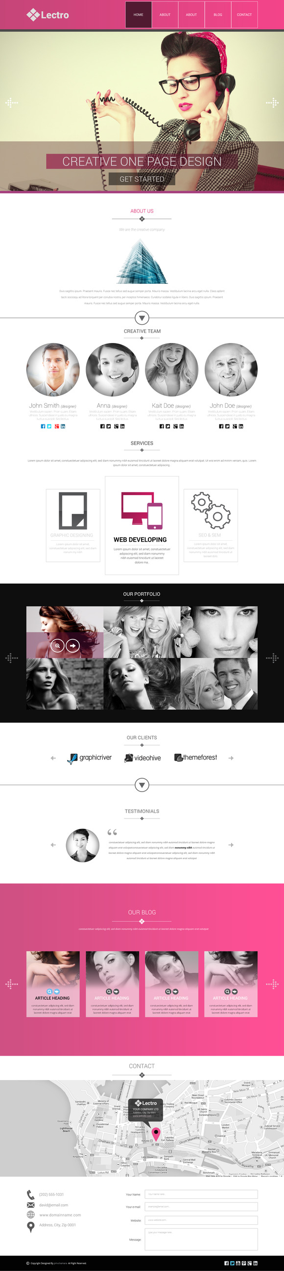 Lectro OnePage PSD Template