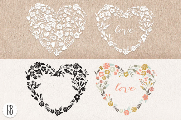 Floral Heart Wreaths Papel Picado