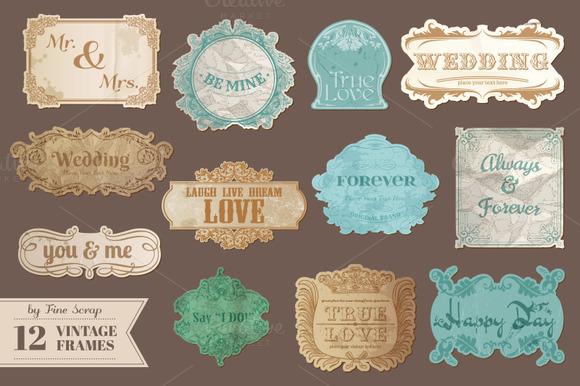 12 Vintage Wedding Frames