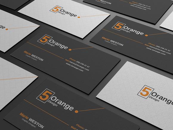 5 Orange Corporate Business Card