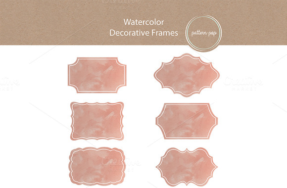 18 Watercolor Frames Labels