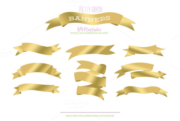 Gold Ribbon Banner PNG Clipart