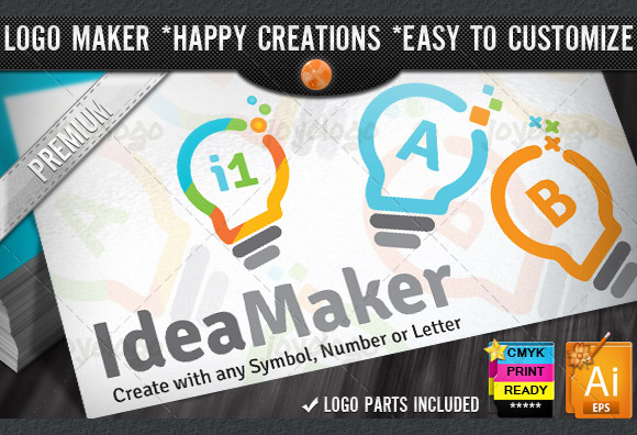 Flat Colorful Idea Logo Maker Set