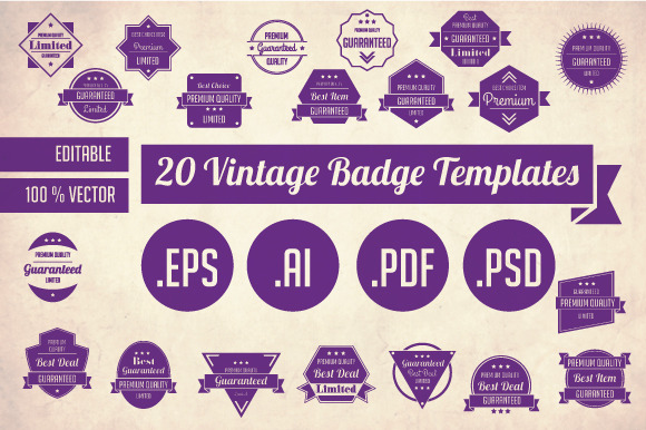 20 Vintage Badge Templates