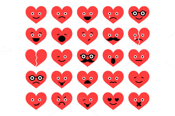 Set Of Valentine Hearts Smiles