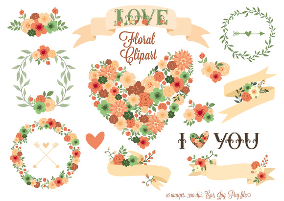 Floral Clip Art Floral Elements