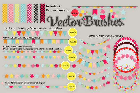 Buntings And Banners Vector Brushes