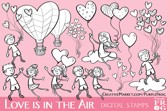 LOVE IS IN THE AIR Digital Stamps