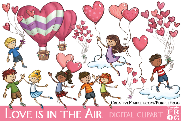 LOVE IS IN THE AIR Digital Clipart