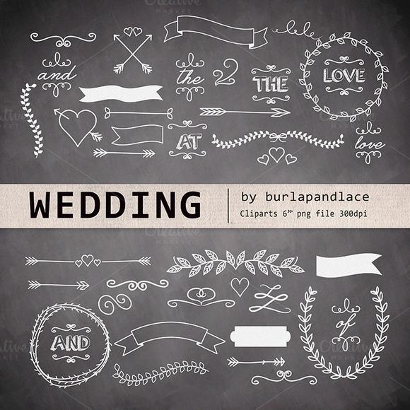 Chalkboard Wedding Cliparts