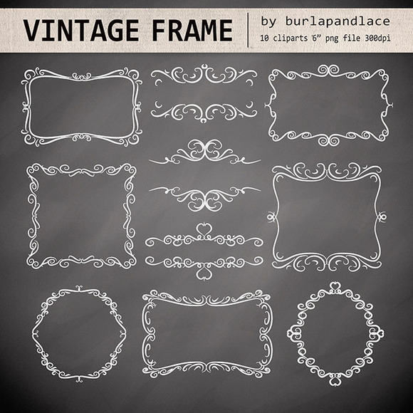 Chalkboard Swirls Digital Frames