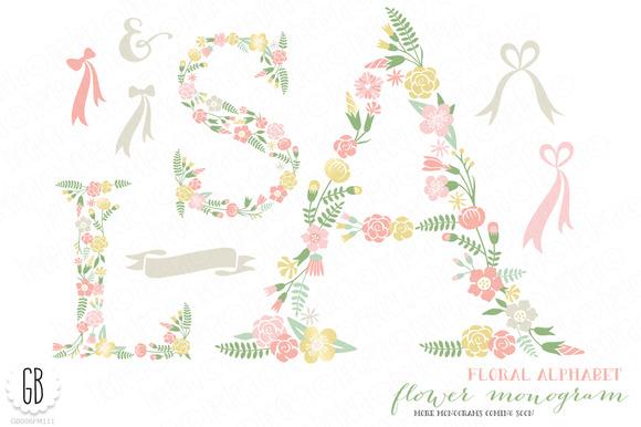 Flower Monogram Floral Type A S L