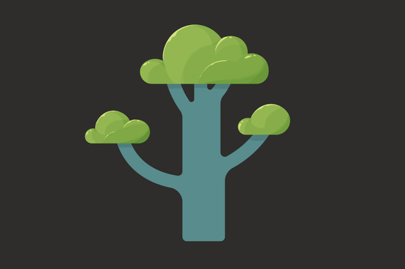 Flat Icon Of A Tree In Spring