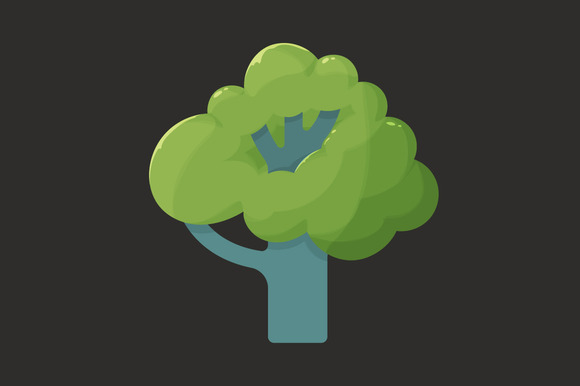 Flat Icon Of A Tree In Summer
