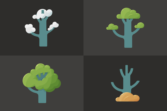 Icon Of A Tree In Different Seasons