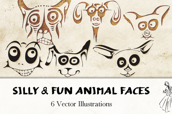 6 Vector Animal Faces