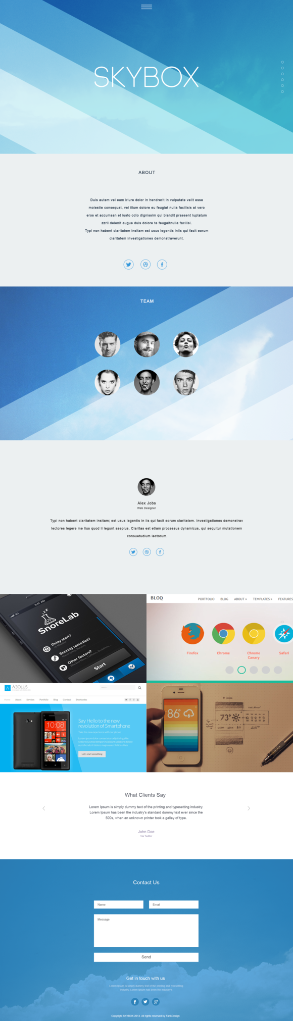 Skybox OnePage PSD Template